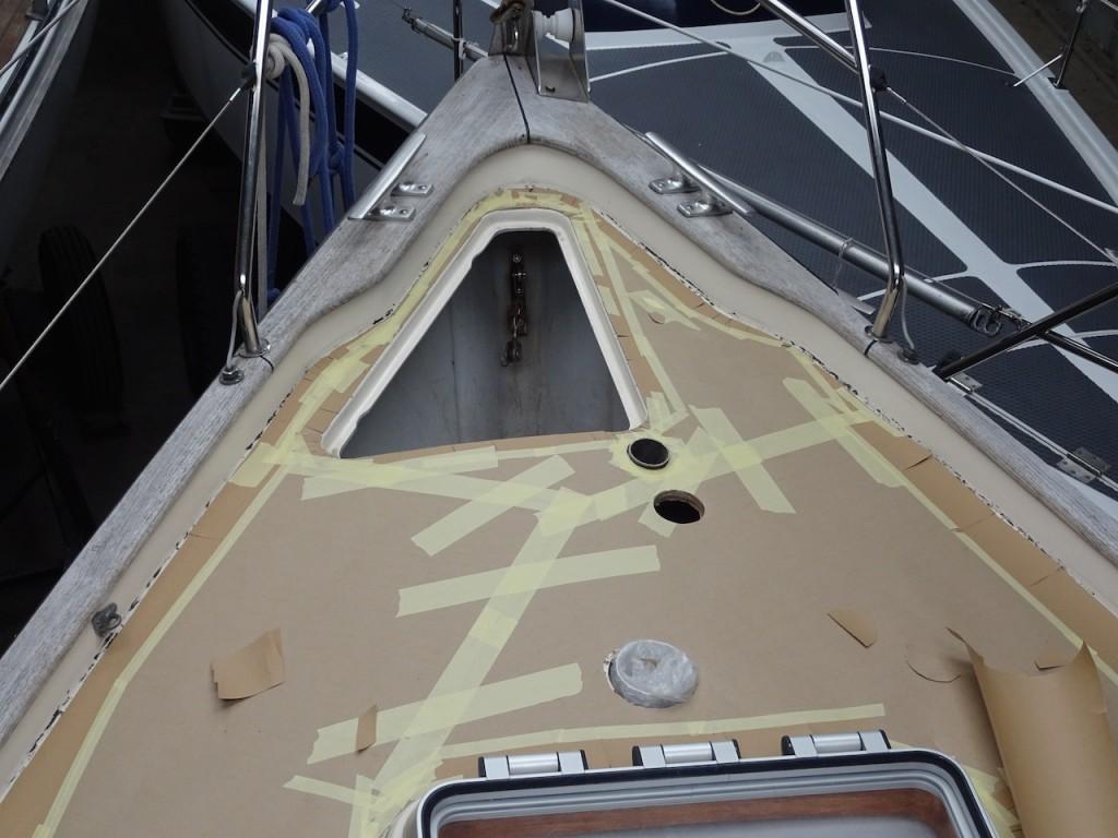 die Schablone am Vorschiff