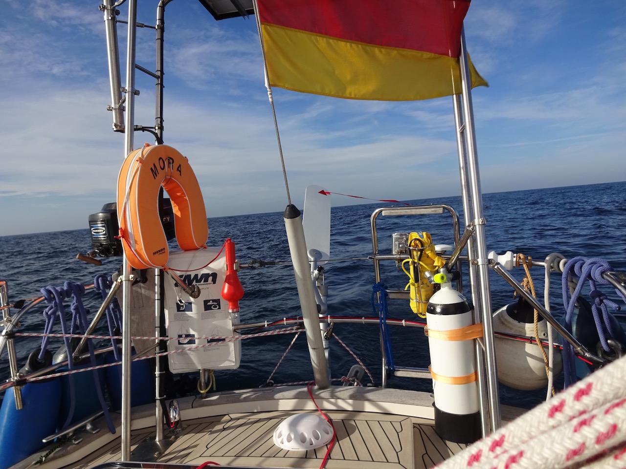 die Windfahne ist aktiviert und steuert das Boot
