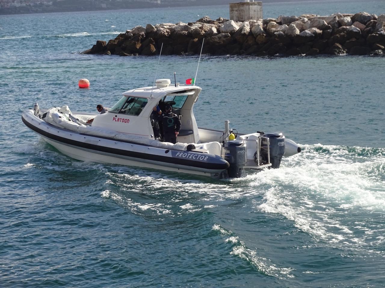 und zu jeder Regattayacht gehört noch ein Begleitboot in beachtlicher Größe